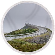 Round Beach Towel featuring the photograph Rainy Day On Atlantic Road by Dmytro Korol