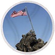 Raising The Flag On Iwo - 799 Round Beach Towel