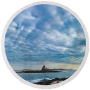 Ram Island Light Round Beach Towel