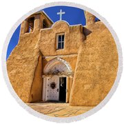 Ranchos De Taos Church  Round Beach Towel