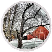 Red And White Round Beach Towel by Betsy Zimmerli