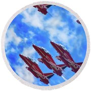 Red Arrows Round Beach Towel by Roger Lighterness