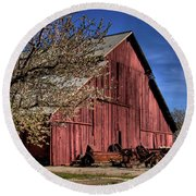 Round Beach Towel featuring the photograph Red Barn by Jim and Emily Bush