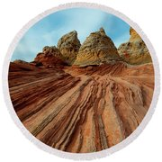 Round Beach Towel featuring the photograph Red Desert Lines by Mike Dawson