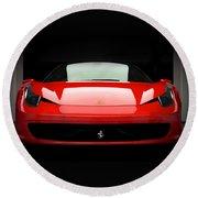 Red Ferrari 458 Round Beach Towel by Matt Malloy