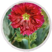 Red Hollyhock Round Beach Towel