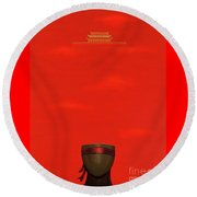 Red Impression Round Beach Towel