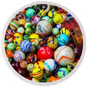 Red Jar With Marbles Round Beach Towel