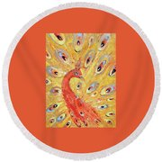 Red Peacock  Round Beach Towel