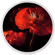 Two Red Poppies Round Beach Towel
