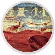 Red Rock Canyon Petroglyphs Round Beach Towel