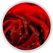 Red Rose 2 Round Beach Towel