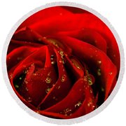 Red Rose 2 Round Beach Towel