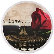 Red Rose On Typewriter Round Beach Towel