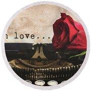 Red Rose On Typewriter Round Beach Towel by Anastasy Yarmolovich