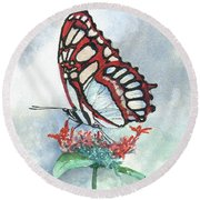 Round Beach Towel featuring the painting Red by Sam Sidders