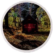 Red Shed Round Beach Towel by Randy Sylvia