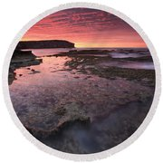 Red Sky At Morning Round Beach Towel