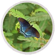 Round Beach Towel featuring the photograph Red Spotted Purple Butterfly by Sandy Keeton