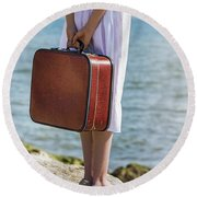 Red Suitcase Round Beach Towel