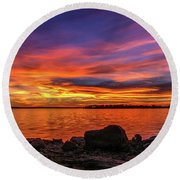 Red Sunset Round Beach Towel by Doug Long