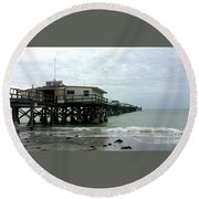Redington Beach, Florida Fishing Pier Round Beach Towel by Scott D Van Osdol