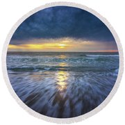 Redondo Beach Sunset Round Beach Towel