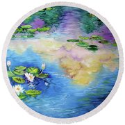 Reflections On A Waterlily Pond Round Beach Towel