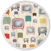 retro TV pattern  Round Beach Towel