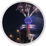 Round Beach Towel featuring the photograph Reunion Tower Fireworks by Robert Bellomy