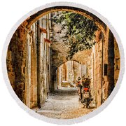 Round Beach Towel featuring the photograph Rhodes, Greece - Rhodian Street by Mark Forte