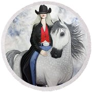 Ridin' Red Round Beach Towel