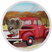 Ridin' With Razorbacks 2 Round Beach Towel by Belinda Nagy