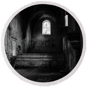 Round Beach Towel featuring the photograph Rioseco Abandoned Abbey Nave Bw by RicardMN Photography