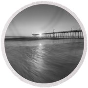 Rise And Shine At Nags Head Pier Round Beach Towel