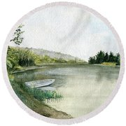 Round Beach Towel featuring the painting River Light by Melly Terpening