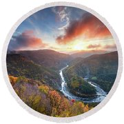 River Meander At Sunrise Round Beach Towel