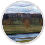 Round Beach Towel featuring the photograph River Tweed And Floors Castle by Phil Banks