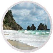 Rocks Of Coromandel, New Zealand Round Beach Towel