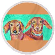 Rocky And Hershey Round Beach Towel