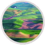Green Hills Of The Palouse Round Beach Towel by James Hammond