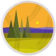 Round Beach Towel featuring the digital art Rolling Hills by Val Arie