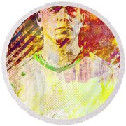 Round Beach Towel featuring the mixed media Ronaldo by Svelby Art