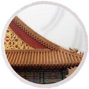 Roof Forbidden City Beijing China Round Beach Towel