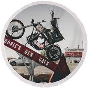 Rosies Den Cafe Round Beach Towel