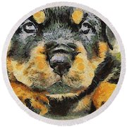 Rottweiler Puppy Portrait Round Beach Towel