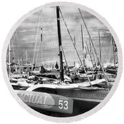 Round Beach Towel featuring the photograph Route Du Rhum Ready by Elf Evans