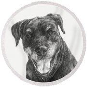 Round Beach Towel featuring the drawing Ruby  by Meagan  Visser