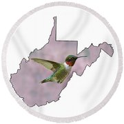 Ruby-throated Hummingbird  Beautiful Coloring Round Beach Towel