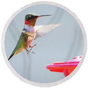 Round Beach Towel featuring the photograph Ruby-throated Hummingbird  by Ricky L Jones